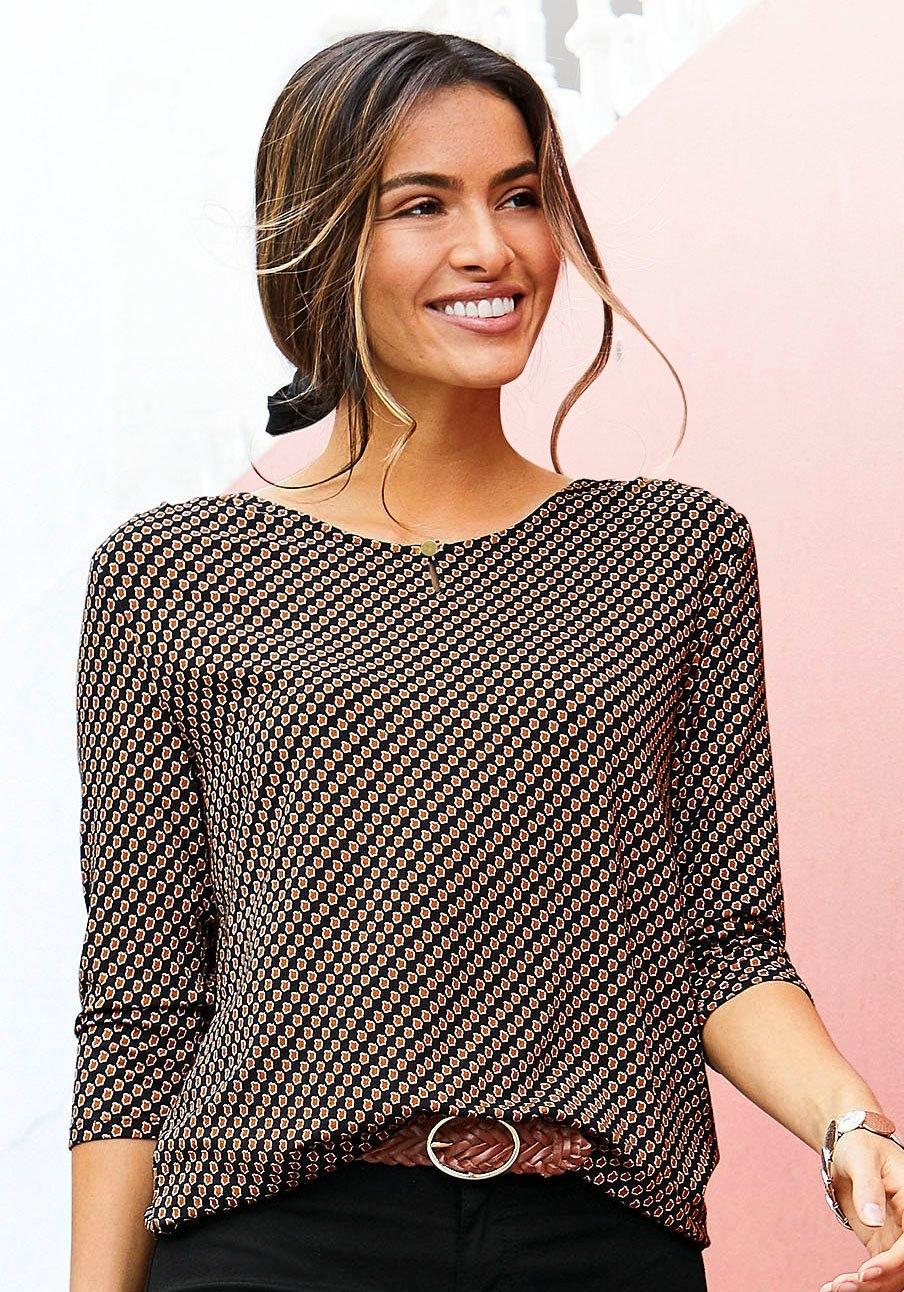 Op zoek naar een Vivance Shirt met 3/4-mouwen met kleine opening en goudkleurige sierknoop bij de hals? Koop online bij Lascana