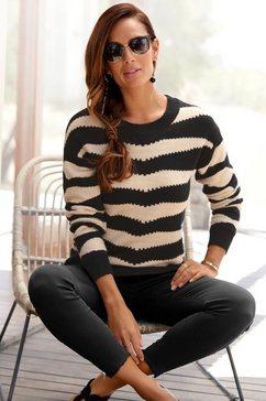 lascana trui met ronde hals met gestreept patroon zwart