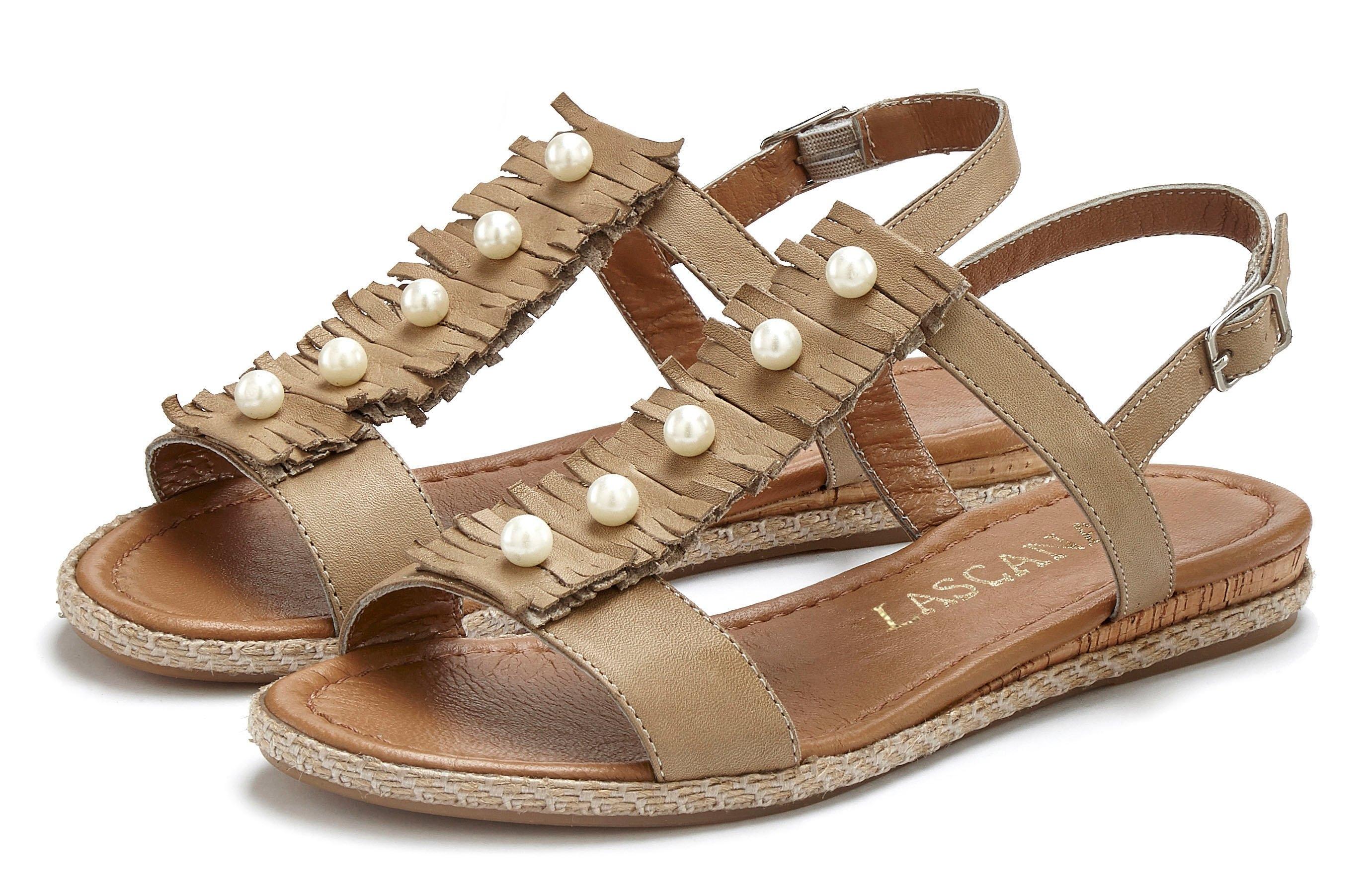 Lascana sandalen van zacht leer met kraaltjes nu online kopen bij Lascana