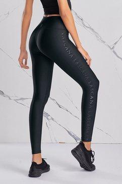 active by lascana legging met glanzend logo-opschrift zwart