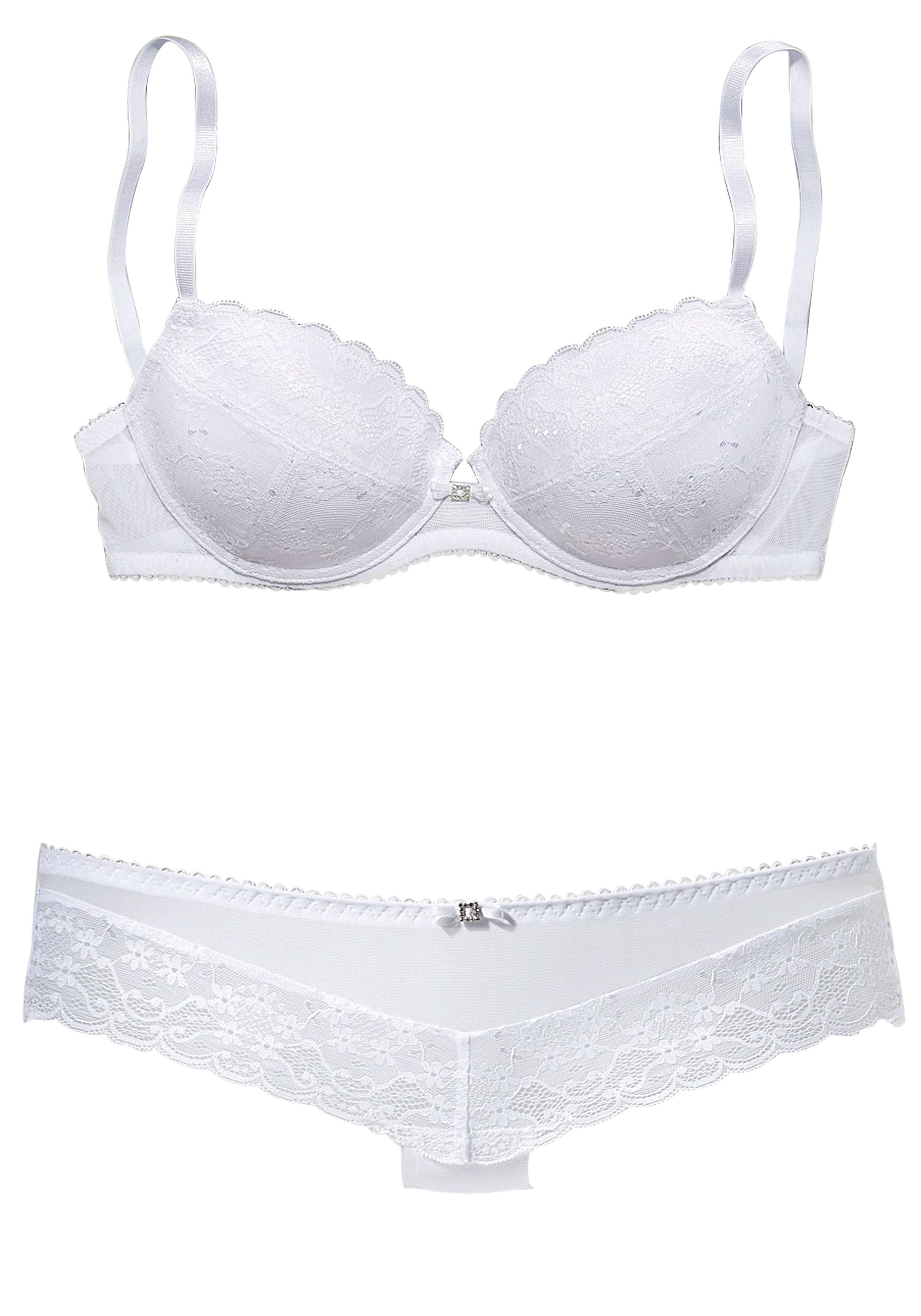Vivance Collection VIVANCE Set van push-up-BH en hipster goedkoop op lascana.nl kopen