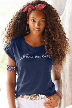 "beachtime t-shirt met modieuze gezegden frontprint ""never too late"" blauw"