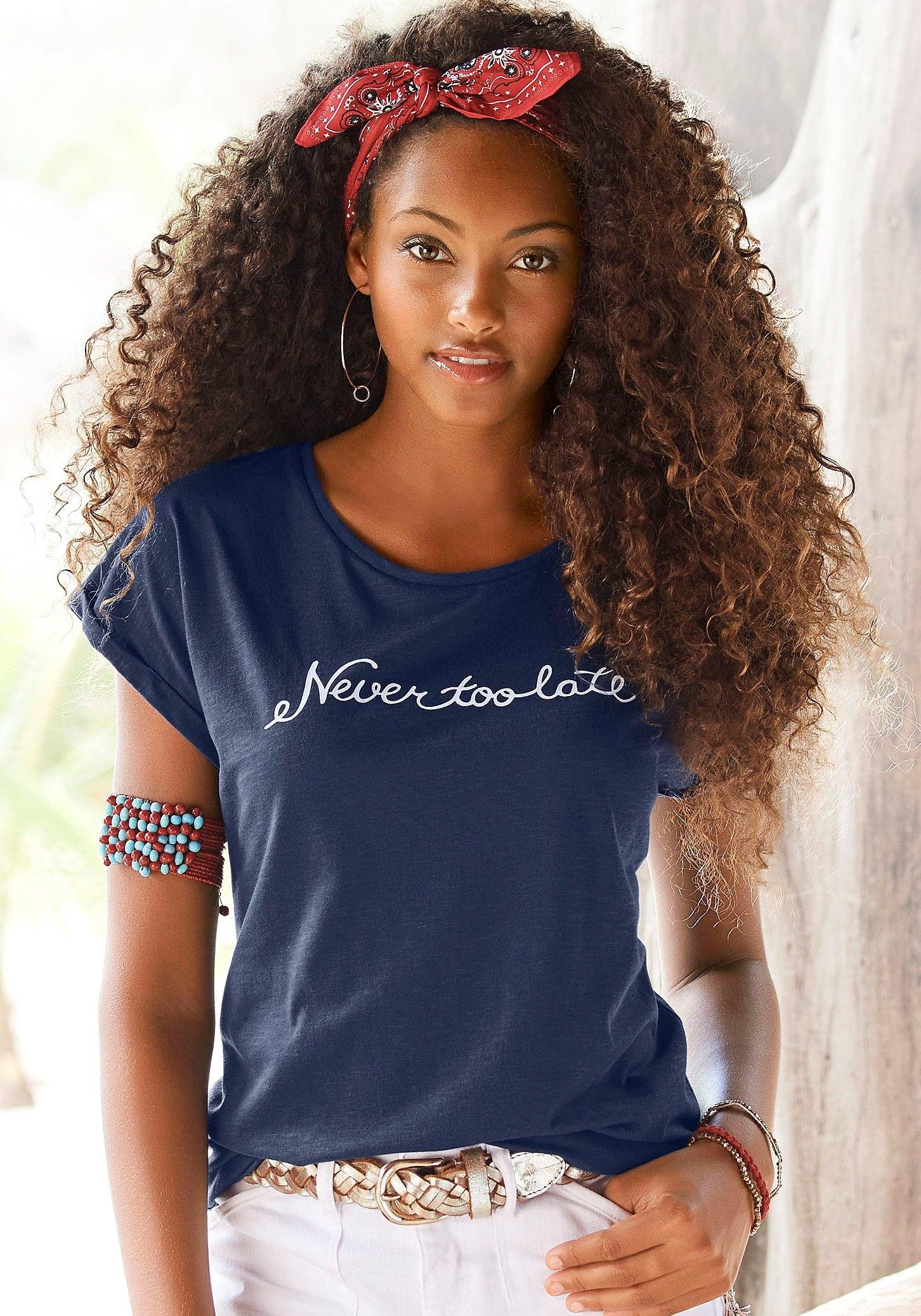 Beachtime T-shirt met modieuze gezegden frontprint