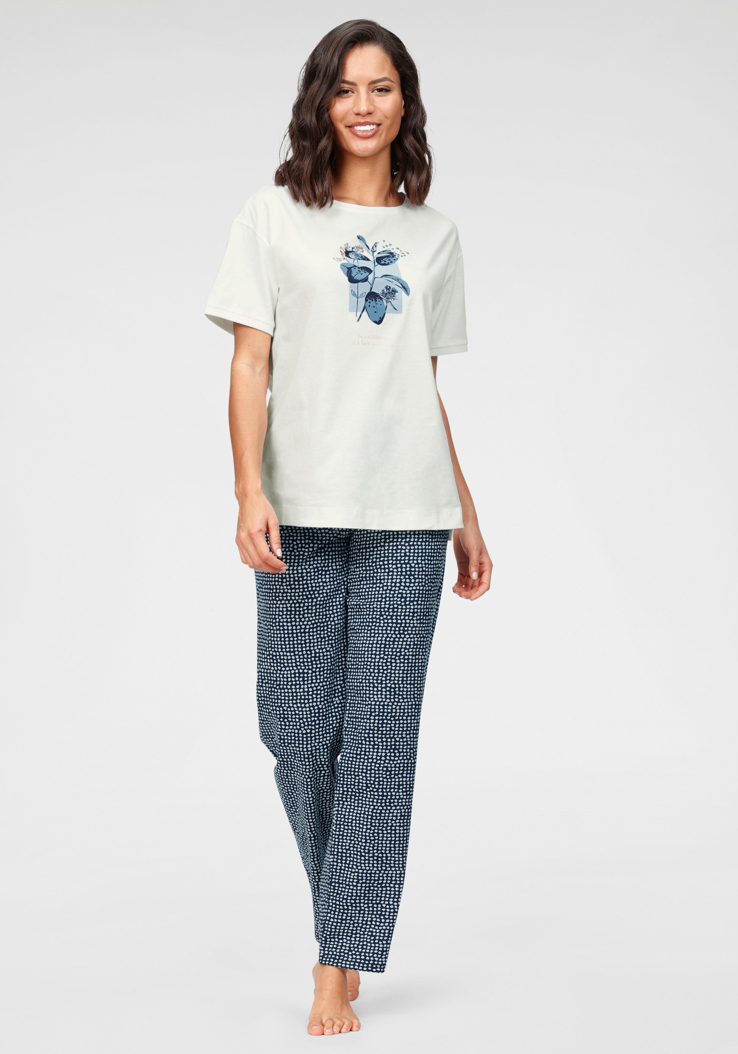 Triumph pyjama met bladdessin en gestippelde broek bij Lascana online kopen