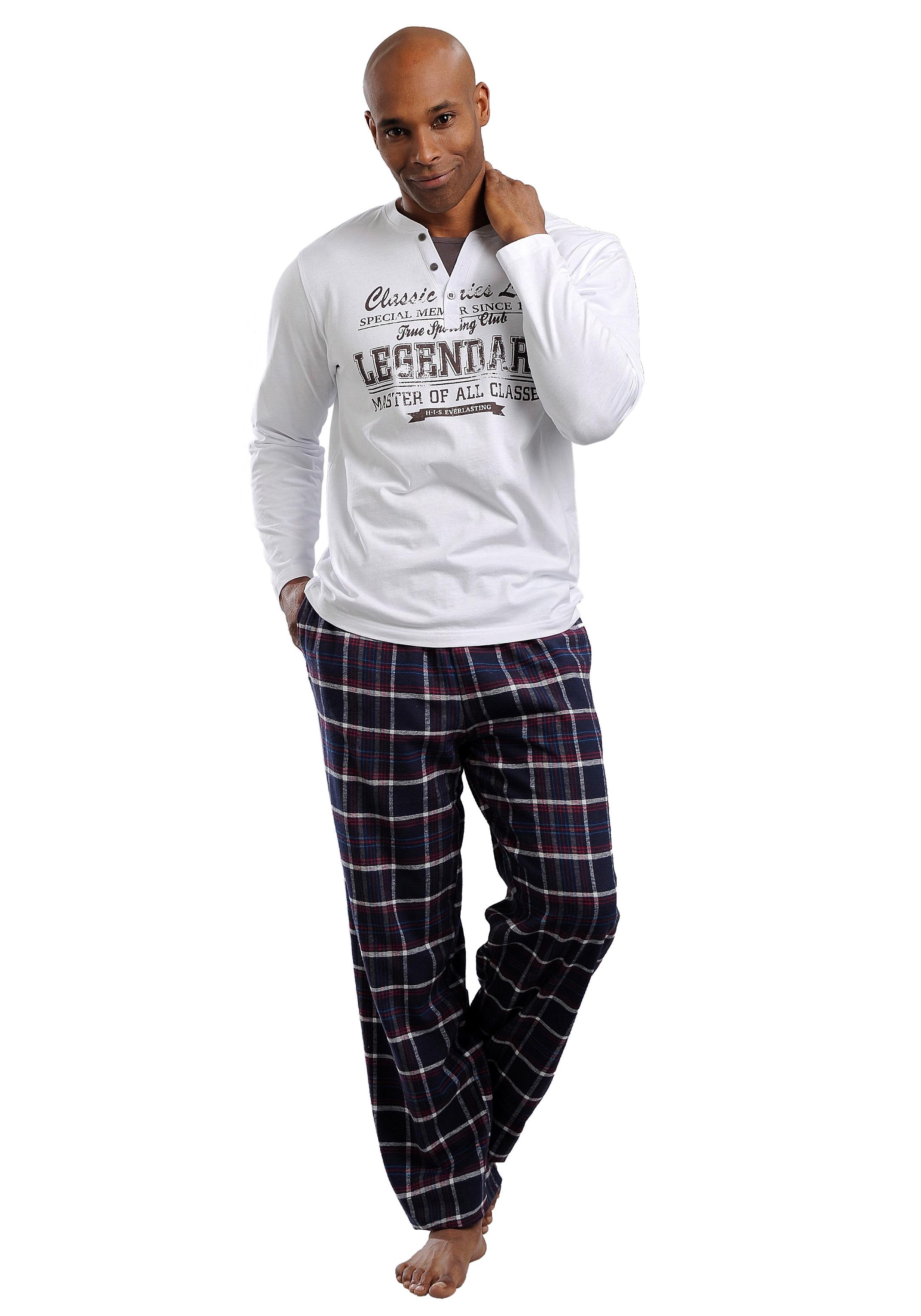 H.I.S flanellen jerseypyjama lang - gratis ruilen op lascana.nl