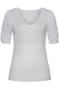 vivance trui met korte mouwen met glitterdraden grijs