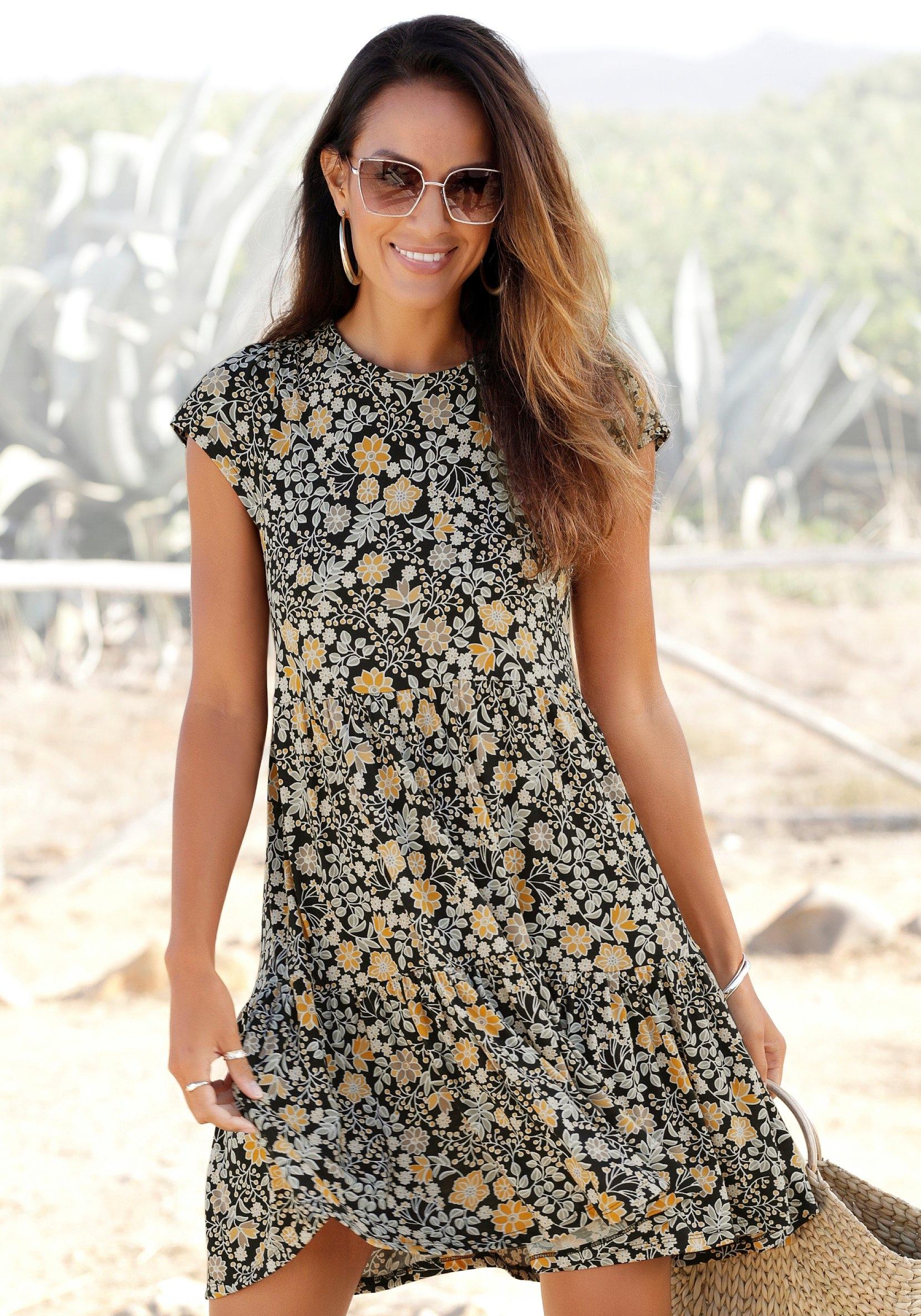 Lascana gedessineerde jurk met bindstrik in de nek online kopen op lascana.nl