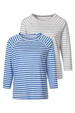 h.i.s shirt met 3-4-mouwen blauw