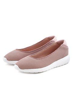 lascana ballerina's sneakers slip-in in superlichte mesh-look roze
