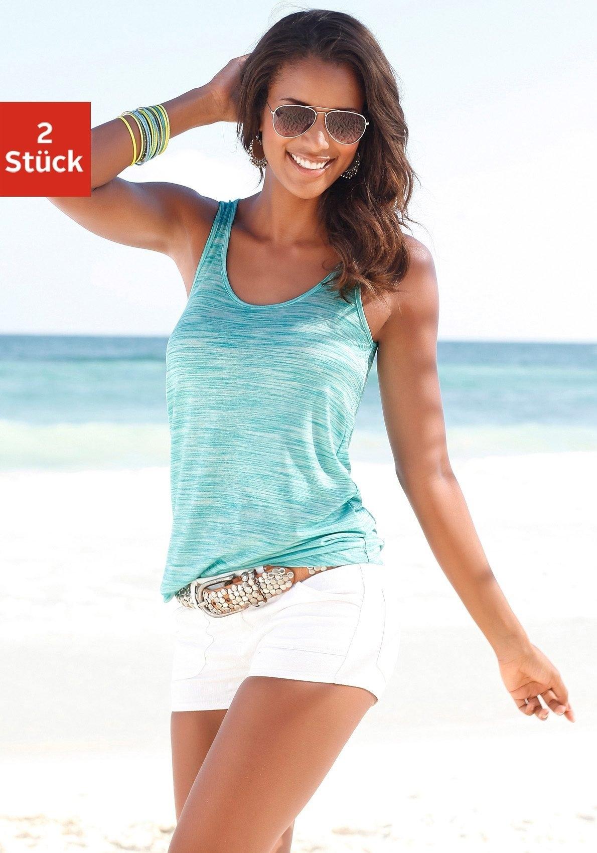 Op zoek naar een Beachtime tanktop met kleine cut-out in de nek (Set van 2)? Koop online bij Lascana
