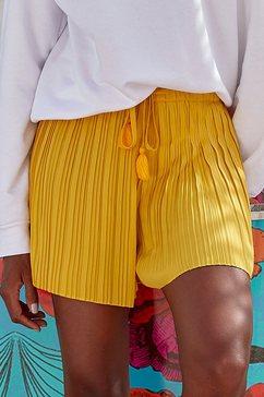 lascana short van plissé geel