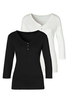 vivance shirt met 3-4-mouwen (set van 2) wit