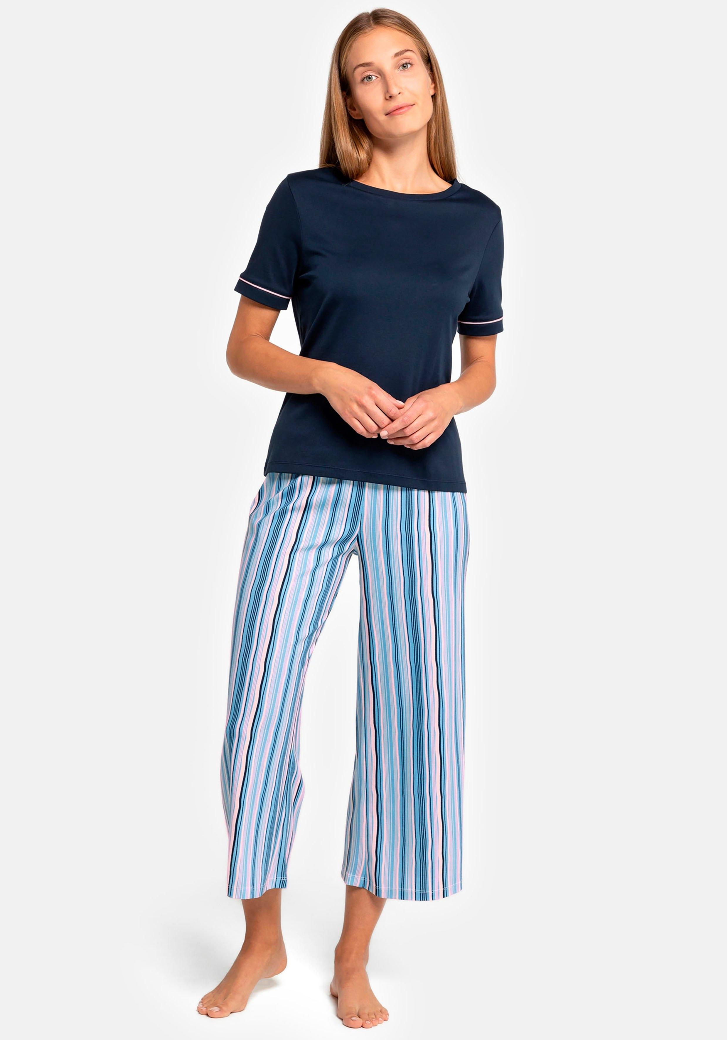 seidensticker pyjama met gestreepte capribroek voordelig en veilig online kopen