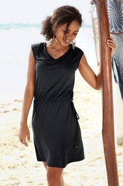 lascana jerseyjurk met sierband op de rug zwart