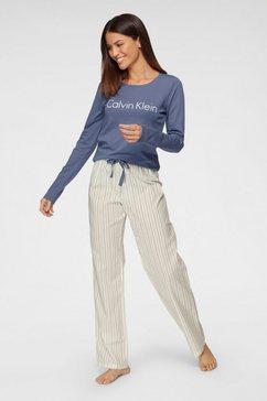 calvin klein pyjama met gestreepte broek paars