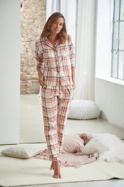 h.i.s pyjama met ruitmotief all-over van flanel geel