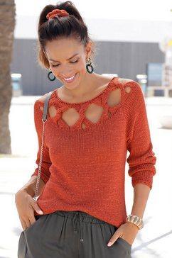 lascana gebreide trui met gedraaide details rood
