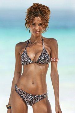 lascana bikinibroekje lexa in strak model en met schulprandjes bruin