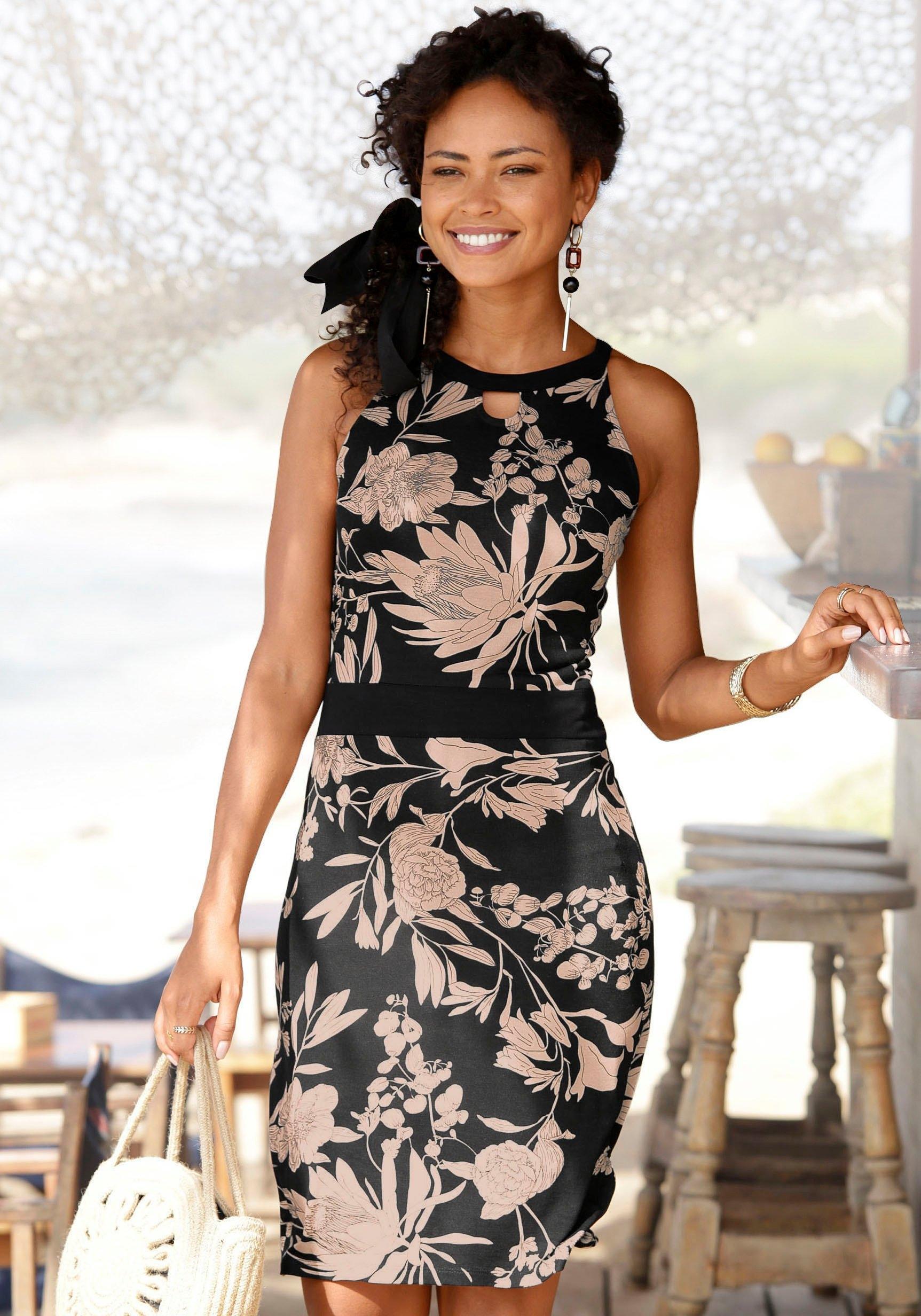 Lascana Gedessineerde jurk met bloemenprint nu online kopen bij Lascana