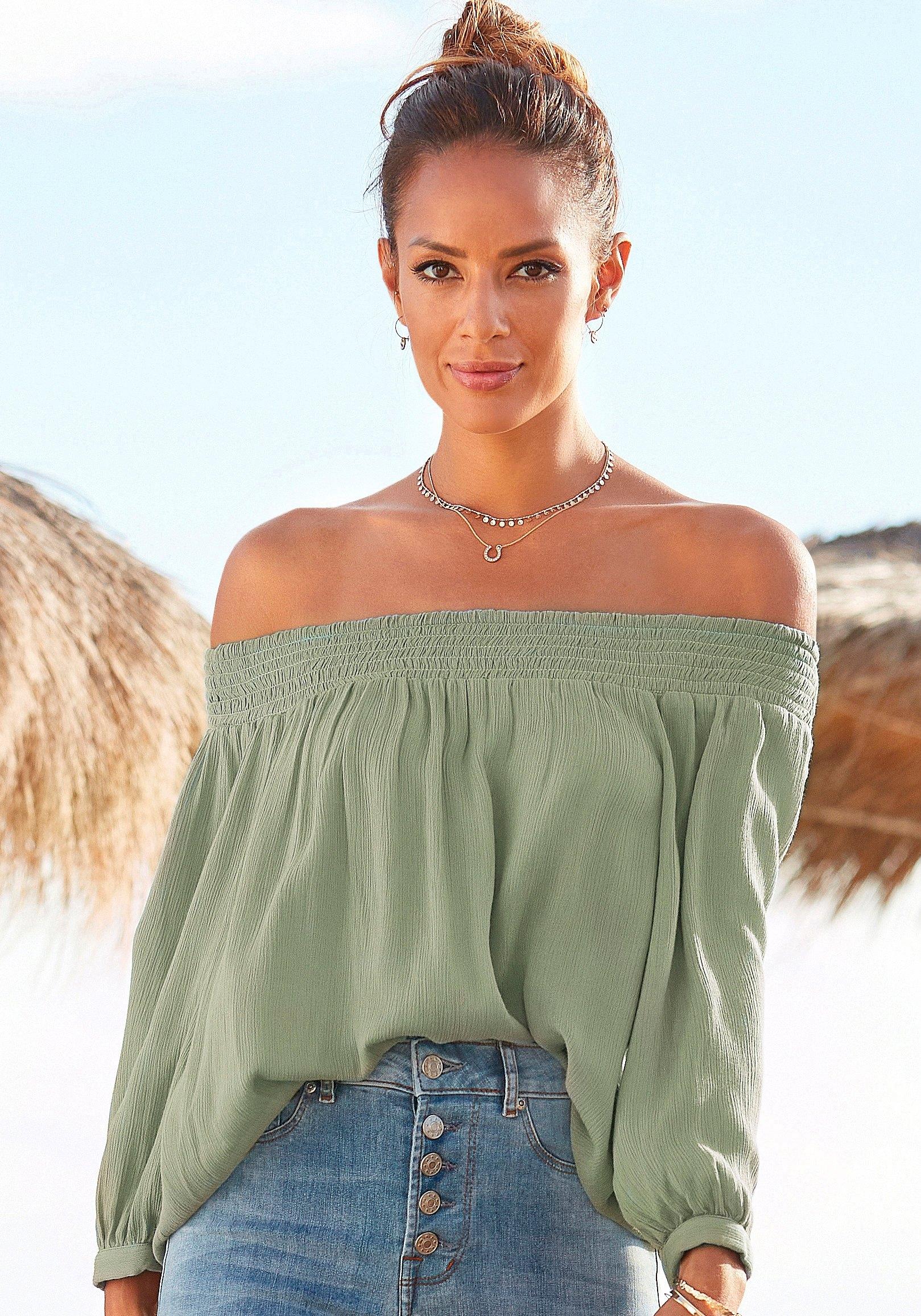 Buffalo blouse met carmenhals in lichte krinkel-look goedkoop op lascana.nl kopen