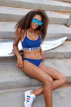 adidas performance bustierbikini met merkopschriften blauw