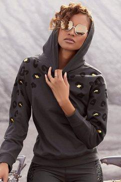 bench. hoodie met glanzende luipaardprint zwart