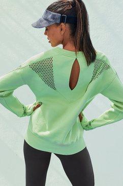 active by lascana sweatshirt technical red met meshinzetten en cut-out groen