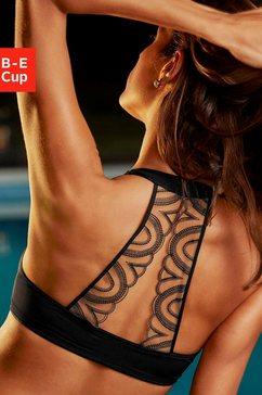 lascana bh met steuncups met tattoo-rug en voorsluiting zwart