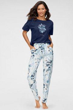 triumph pyjama met bladdessin blauw