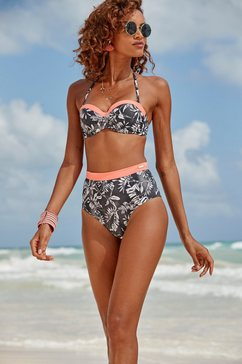 sunseeker highwaist-bikinibroekje mono met contrastkleurige band zwart