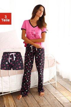 vivance dreams pyjama met kuslippen print (3-delig) multicolor