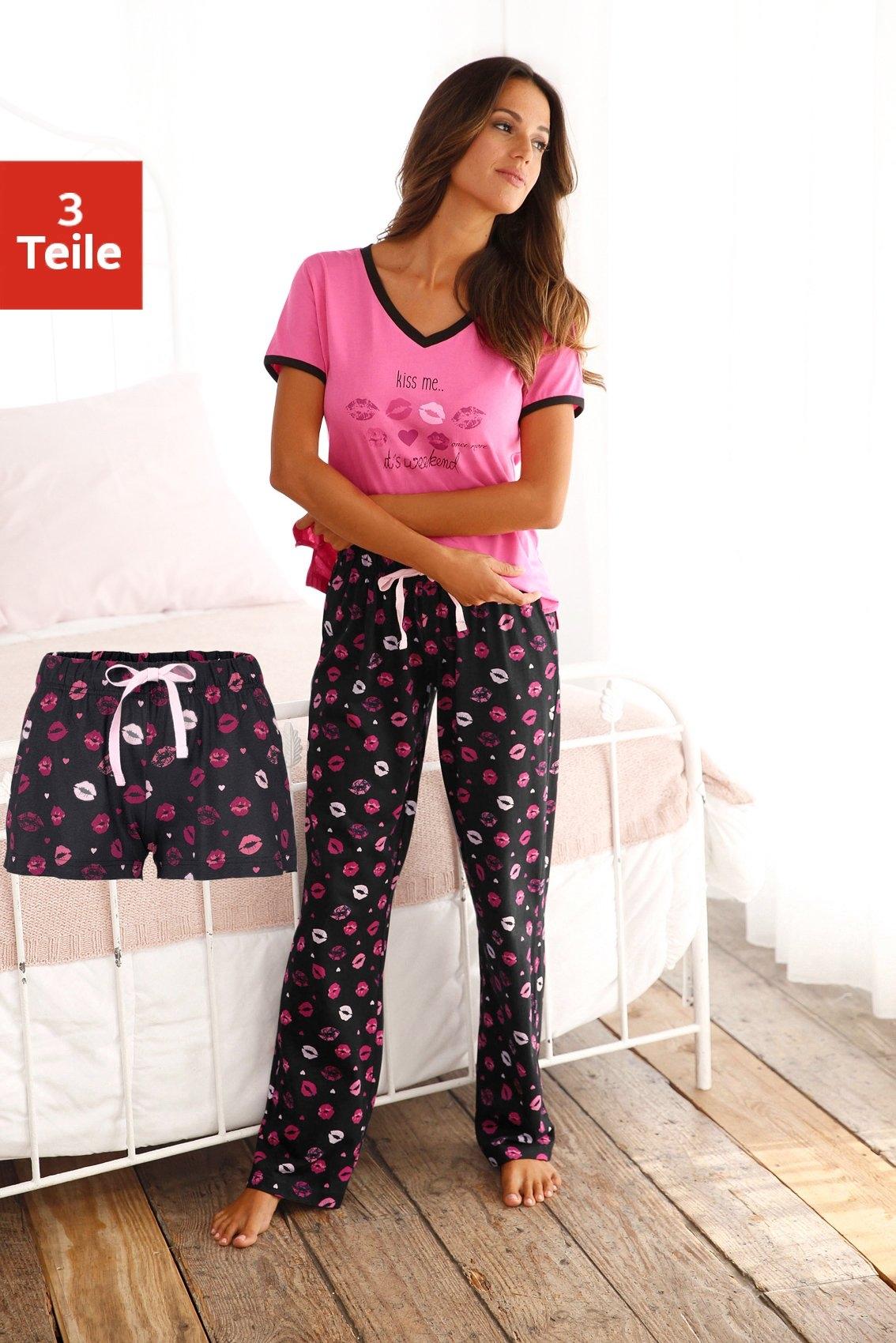 Vivance Dreams Pyjama met kuslippen print (3-delig) online kopen op lascana.nl