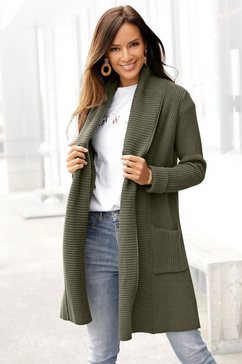lascana lang vest met sjaalkraag groen