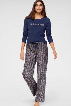 calvin klein pyjama met logo-opschrift en gedessineerde broek blauw