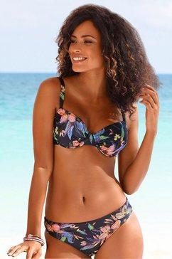 lascana bikinitop met beugels malia met tropische print grijs