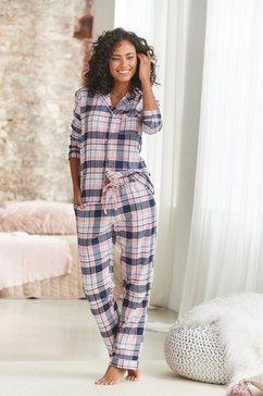 h.i.s pyjama met ruitmotief all-over van flanel paars
