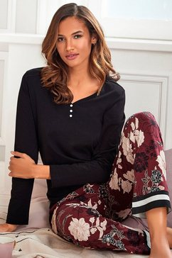 s.oliver red label beachwear pyjama bloemdessin met streepdetails zwart