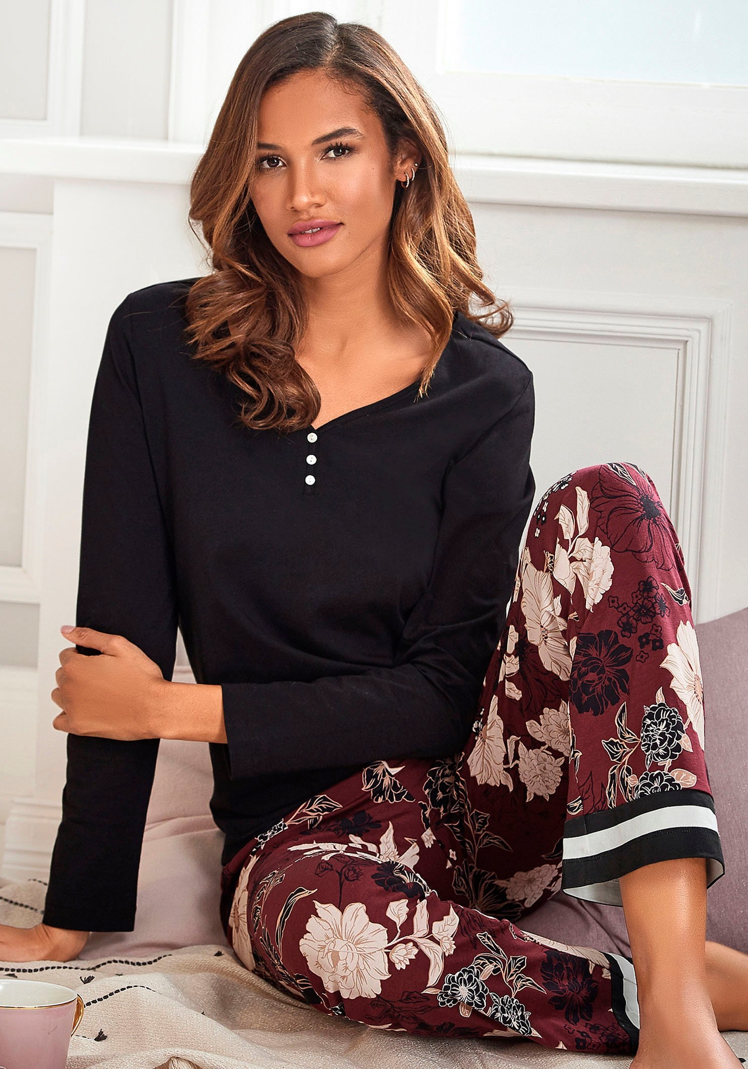 s.Oliver RED LABEL Beachwear pyjama bloemdessin met streepdetails bestellen: 30 dagen bedenktijd