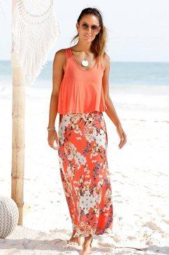 s.oliver red label beachwear maxi-jurk in laagjes-look rood