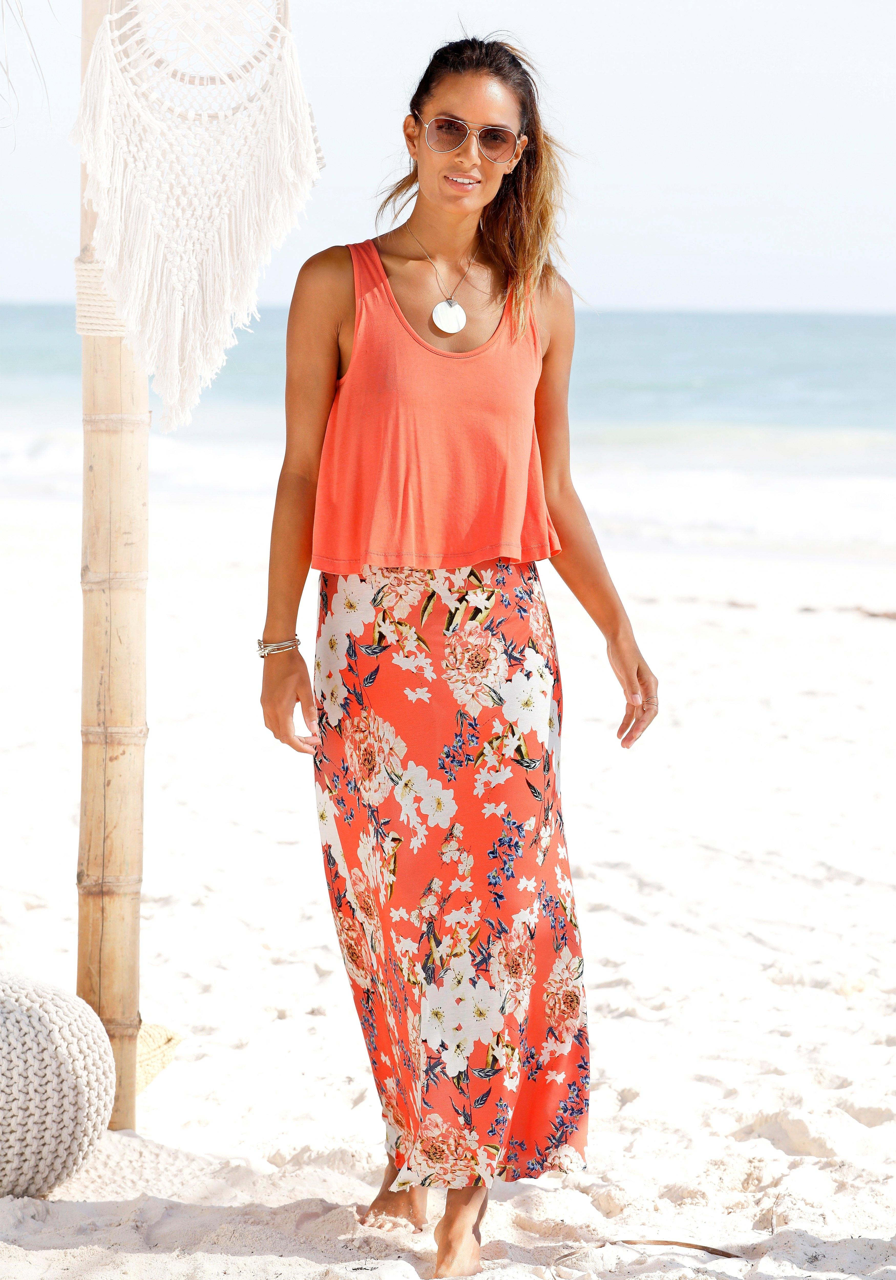 s.Oliver RED LABEL Beachwear maxi-jurk in laagjes-look bij Lascana online kopen