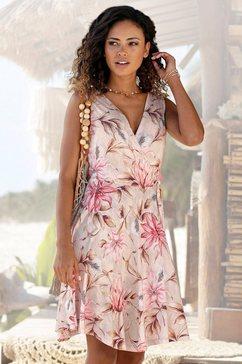 s.oliver red label beachwear gedessineerde jurk met bindstrik opzij roze