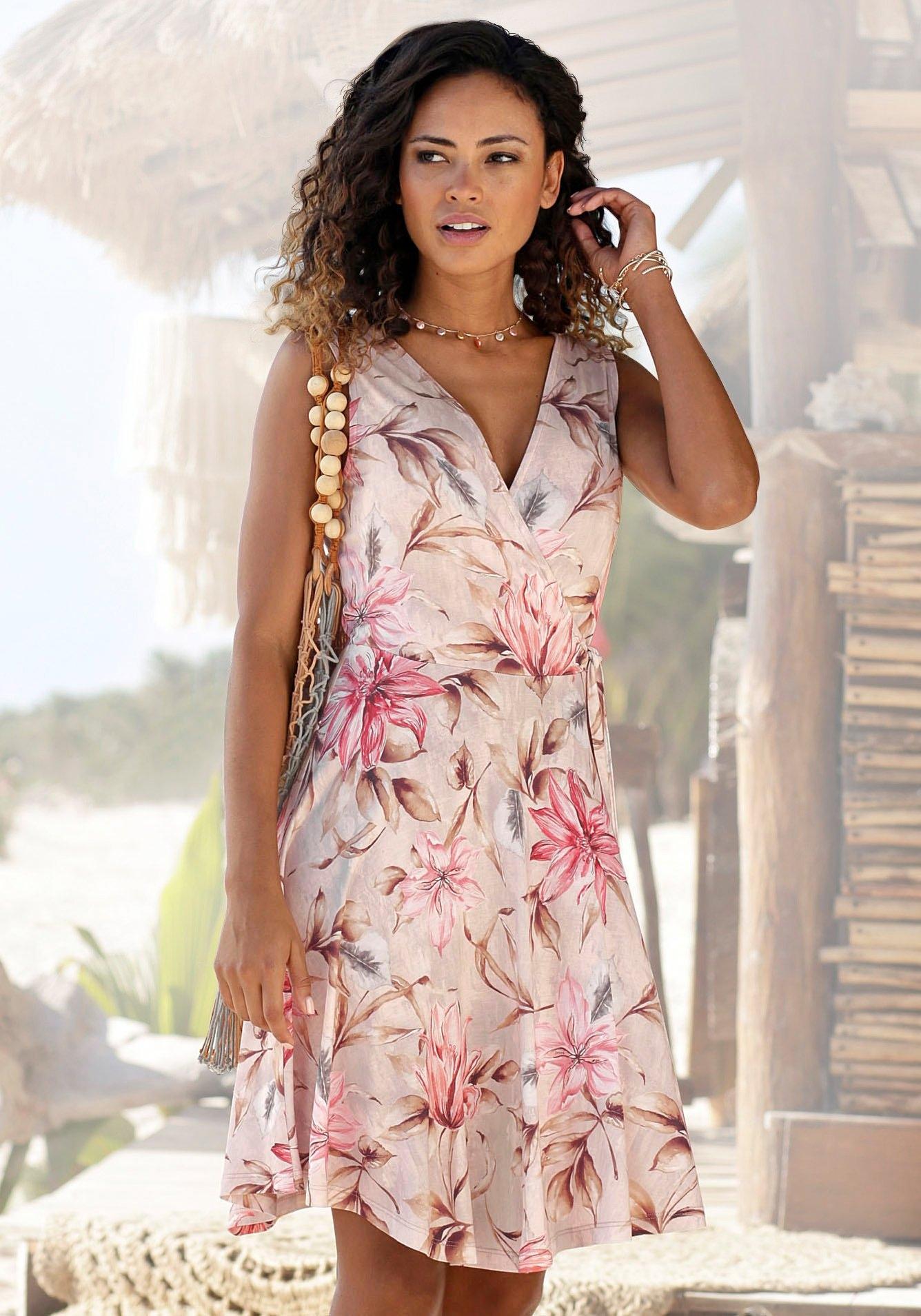 s.Oliver RED LABEL Beachwear gedessineerde jurk met bindstrik opzij veilig op lascana.nl kopen
