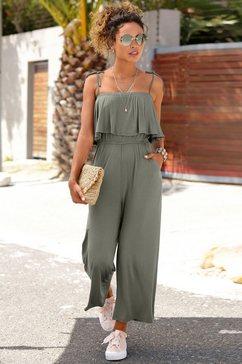 s.oliver beachwear jumpsuit in culotte-stijl groen