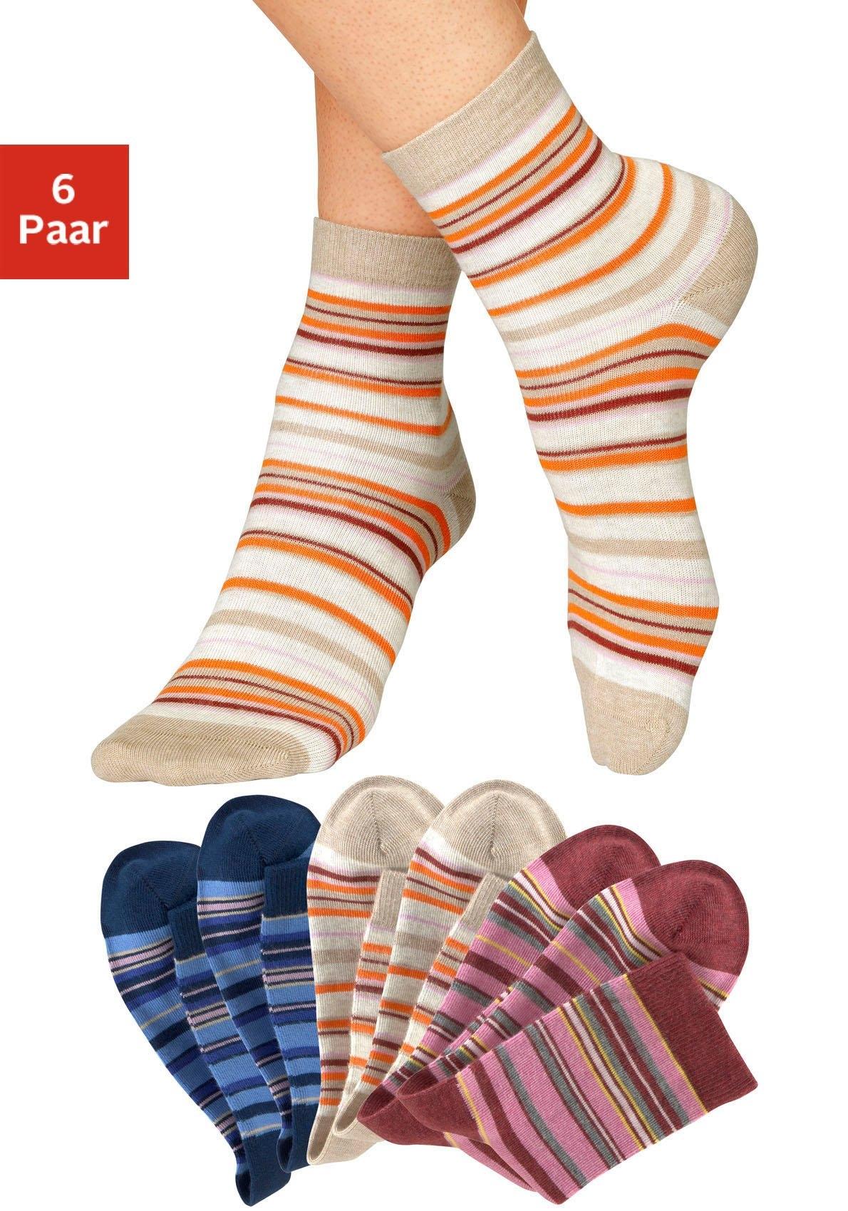 H.I.S Sokken met horizontale strepen (6 paar) - gratis ruilen op lascana.nl