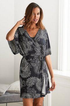 vivance dreams kimono zwart-wit paisleydessin zwart