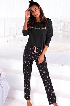 vivance dreams pyjama met hartjesmotief zwart
