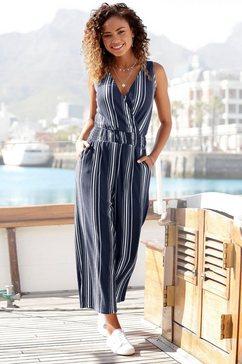 lascana jumpsuit in culotte-stijl van gestructureerd materiaal blauw