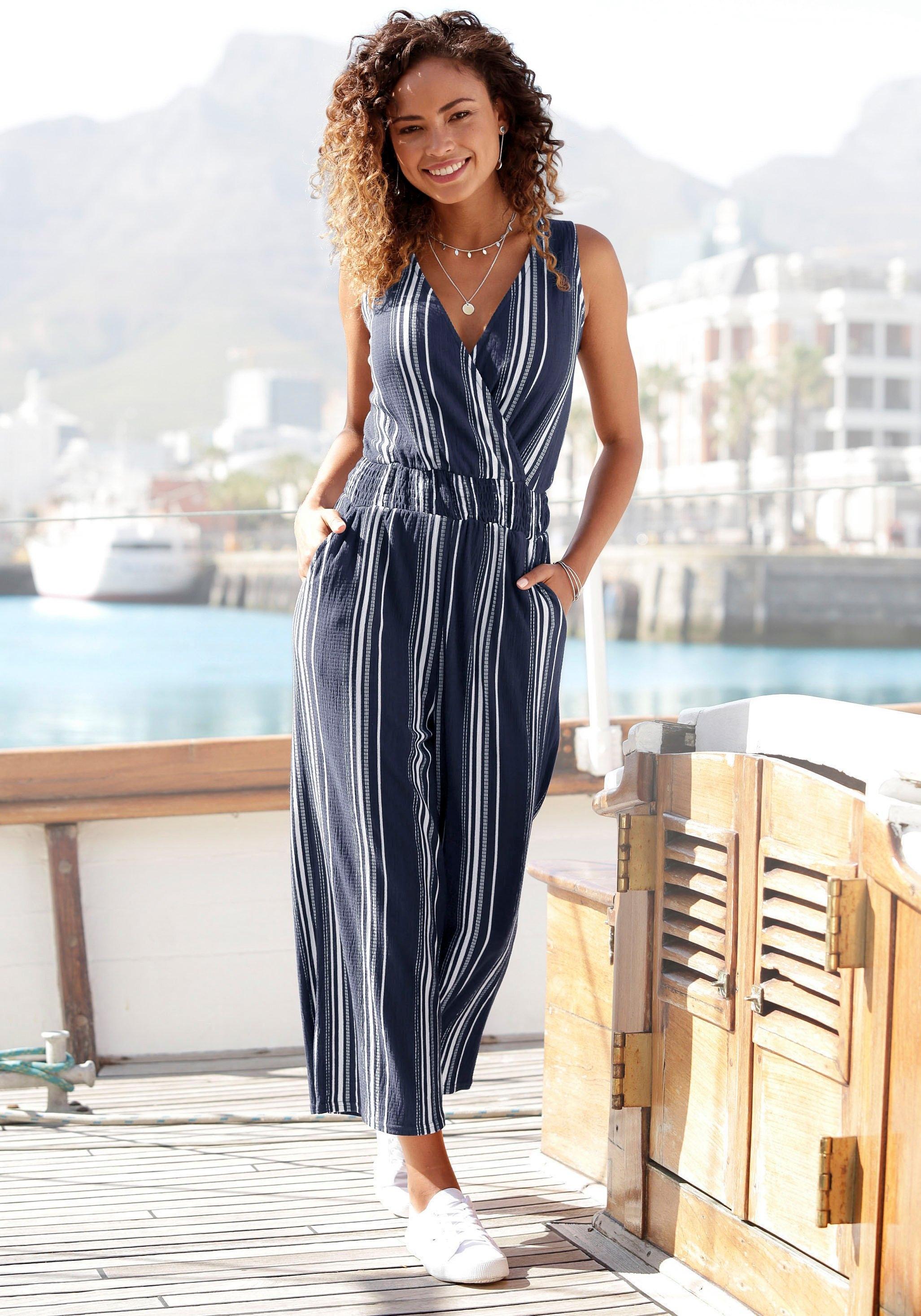 Lascana jumpsuit in culotte-stijl van gestructureerd materiaal nu online bestellen