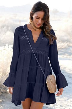 lascana lange blouse met kanten inzetten blauw