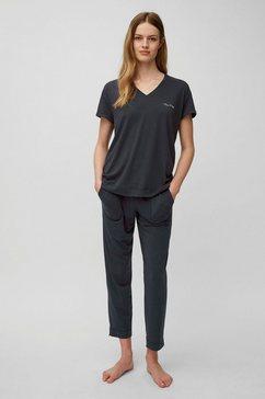 marc o'polo pyjama met een logo-opschrift grijs